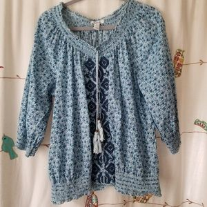 Style & Co 3/4 length boho embroidered top